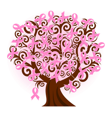 vector illustration of a breast cancer pink ribbon tree, copied from cancer753.blogspot.com